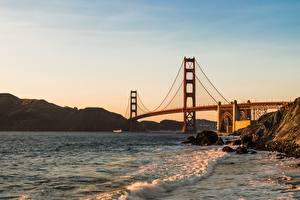 Картинки Мосты США Сан-Франциско Golden Gate Bridge Природа