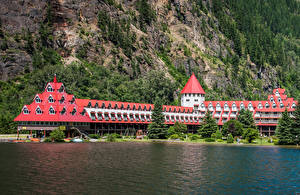 Фото Канада Берег Дома Отель Скала Ели Three Valley Lake Chateau Revelstoke город
