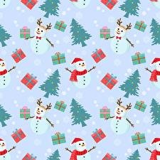 Картинка Новый год Текстура Снеговика Новогодняя ёлка Подарки