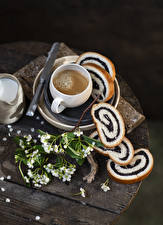 Фото Кофе Капучино Выпечка Хлеб Доски Ветвь Чашке Пища