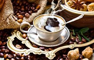 Фото Кофе Зерно Чашке Пар Еда