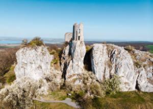Картинки Чехия Руины Скалы Orphan's Castle, Moravia Природа