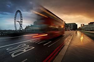 Обои Англия Автобус Дороги Лондоне Едущая город
