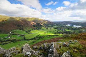 Обои Англия Гора Озеро Луга Облачно Утес Холм Lake District, Cumbria