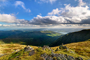 Обои Англия Горы Озеро Утес Облака Lake District, Cumbria Природа