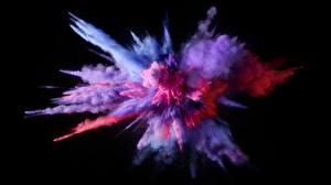 Картинка Взрывы Фиолетовая На черном фоне Краски Порошок