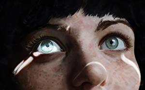Фотографии Глаза Рисованные Вблизи Нос молодые женщины