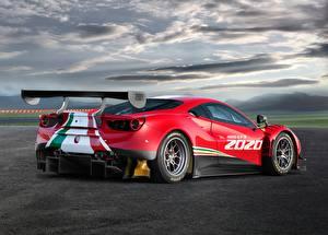 Фотографии Ferrari Красный Облачно Сзади 488, GT3, Evo машины