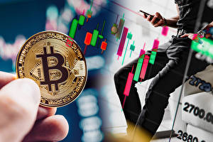 Картинка Пальцы Монеты Деньги Bitcoin Боке Бизнес