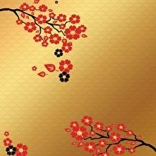 Фотографии Цветущие деревья Рисованные Ветвь Лист Шаблон поздравительной открытки Природа