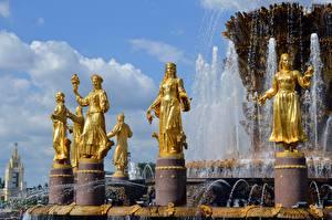 Фотография Фонтаны Москва Россия Скульптуры Золотые Fountain Of Friendship Of Peoples, VDNH