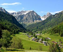 Картинки Франция Гора Здания Леса Луга Haute Savoie Природа