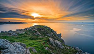 Фотография Франция Рассветы и закаты Берег Море Небо Brittany Природа