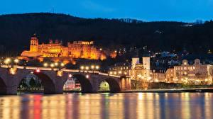 Обои Германия Замки Мосты Ночь Heidelberg, Neckar river Города картинки