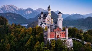 Обои Германия Замки Горы Нойшванштайн Бавария Деревья Альпы Башня Природа картинки