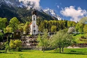 Картинка Германия Горы Церковь Пейзаж Бавария Альпы Облака Дерева Garmisch-Partenkirchen Природа