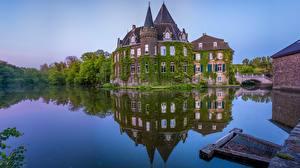Фотографии Германия Пруд Замок Отражении Linnep Castle, Ratingen