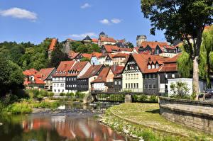 Обои Германия Речка Здания Бавария Kronach город