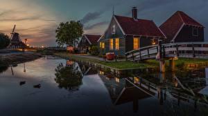 Фотография Здания Вечер Нидерланды Zaanse Schans, Zaandam город