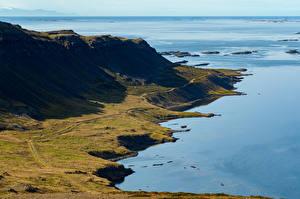 Фото Исландия Берег Горы Горизонт Природа