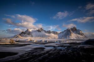 Фото Исландия Гора Облачно Hofn, Vestrahorn Природа