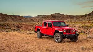 Фото Jeep Красных Металлик Пикап кузов SUV Gladiator Rubicon, 2019 Автомобили