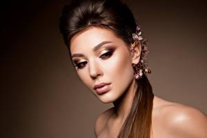 Картинки Украшения Модель Красивые Мейкап Причёска Лица девушка