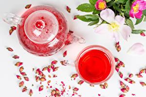 Обои Чайник Чай Роза Кружка Бутон Пища Цветы