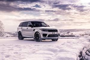 Картинки Range Rover Белый SUV Снег Range Rover Sport HST машина