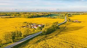 Картинки Литва Поля Дороги Сверху Dūminas Природа