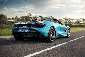 Обои Макларен Голубой Металлик Вид сзади Spider, 720S, 2019 авто