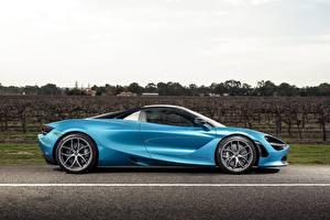 Обои для рабочего стола McLaren Голубых Металлик Сбоку Spider, 720S, 2019 авто