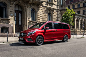 Картинки Mercedes-Benz Красные Минивэн 2019 V 300 d 4MATIC AMG Line Worldwide Автомобили