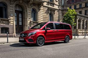 Картинки Mercedes-Benz Красные Минивэн 2019 V 300 d 4MATIC AMG Line Worldwide