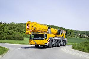 Фотографии Автомобильный кран Желтая Liebherr, LTM 1250 машина