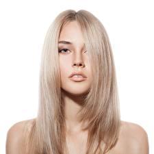 Обои Модель Блондинок Красивые Косметика на лице Волосы Взгляд Белом фоне Русых Девушки