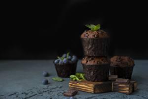 Обои Маффин Кекс Шоколад Черника Еда картинки