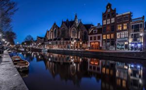 Фотографии Голландия Амстердам Дома Лодки Водный канал В ночи Города