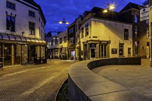 Фото Голландия Здания Улице Ночь Уличные фонари Arnhem город