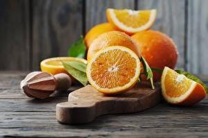 Обои Апельсин Разделочной доске Листва