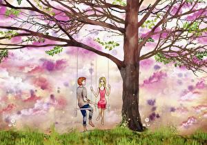 Картинки Рисованные Влюбленные пары Деревьев Качели Парни Природа Девушки