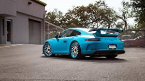 Фотография Porsche Голубой Металлик Купе Вид сзади 911 GT3 автомобиль