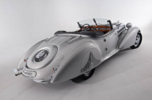 Картинки Винтаж Родстер Серый фон Horch 853 Special Roadster by Erdmann Rossi 1938 машины