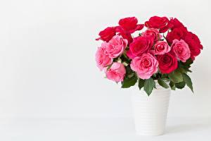 Картинка Розы Букет Вазы Розовый Шаблон поздравительной открытки цветок