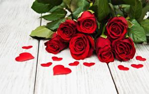 Обои Розы Красный Сердце Доски Цветы картинки