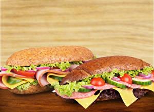 Картинка Сэндвич Овощи Булочки Колбаса 2
