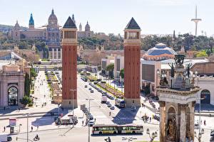 Фотографии Испания Барселона Городская площадь Башня Spain Square город