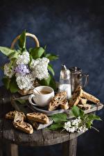 Картинки Натюрморт Сирень Кофе Выпечка Ветвь Чашке Цветы