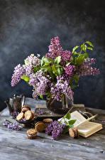 Фотографии Натюрморт Сирень Печенье Книги Ветвь Цветы Еда