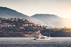 Картинка Рассветы и закаты Берег Монте-Карло Монако Море Яхта город